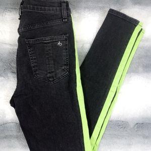 Rag & Bone High Rise Lime Striped Skinny Jeans 26